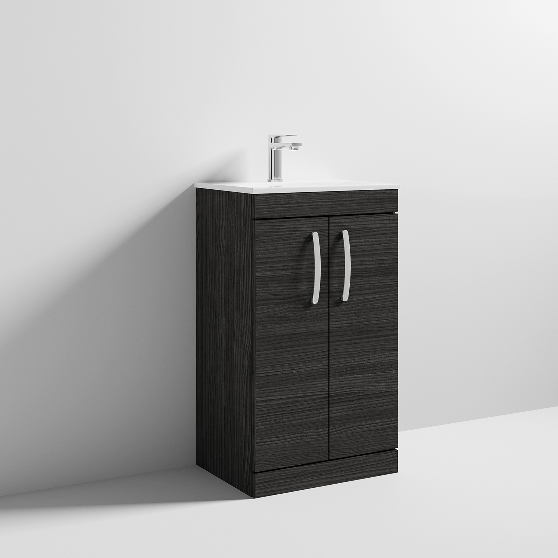 500mm Hacienda Black Nuie ATH019A Athena Modern Bathroom Wall Hung Cabinet /& Basin with 2 Soft Close Drawers